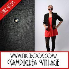 Vintage Black Jacket Coat Blazer Womens szS - 90s Pockets Indie Retro FREE P BUY IT NOW £20