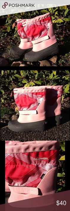 c0f7273056eb65 Columbia waterproof insulated winter boots Pretty in pink! Rubber sole and  foot (in black