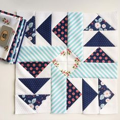 Hello, handsome! Block one from the @fatquartershop's #designermysterybom by @lellaboutique in #littlemisssunshinefabric