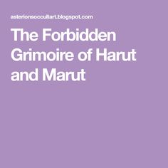 The Forbidden Grimoire Of Harut And Marut Download