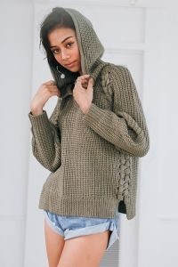 ALEXIA STAM/Side Lace-up Hoodie Knit Top Khaki
