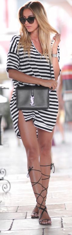Casual look | Oversize striped shirt dress with roman sandals and Saint-Laurent handbag