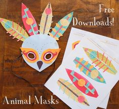 Yay, they're finally here! I've been working on these animal masks for a looooonng time and I finally have a cute collection of forest animal masks for you. I know, peacocks aren't the first animal that pops in your head when it comes to forest animals, but I couldn't resist. So, to get started, here's what you need. Then simply cut, paste, tie and enjoy! I trust you don't need step by step directions. I will point out though that the eyes are separate from the mask ...