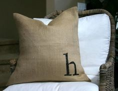 burlap monogram pillow
