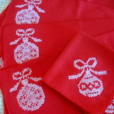 Vintage Christmas Napkins Place Mats Holly Ornaments Cross Stitch White Red New Old Stock Unused by CinfulOldies, $36.50 USD