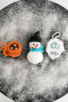 Mini Winter Wonderland Ornament Set - You can't have a Christmas celebration without a little snow. This adorable ornament set featuring the Abominable Showman, Itty Bitty Snowman and Mini Cup of Cocoa, is just what your tree needs this year. From I Like Crochet's December 2014 issue.