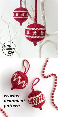 Christmas ornament crochet pattern: really versatile, easy-to-follow crochet pattern for hanging Christmas ornaments. Three designs included, plus details on how to design your own motifs for the central panel.