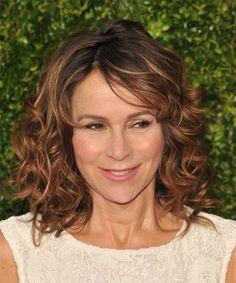 Jennifer Grey Medium Curly Hairstyle - Medium Brunette (Copper)