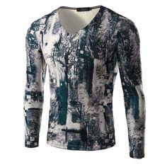Men 3D Printed T Shirt Long Sleeve V Neck High Quality t shirt Men Fashion clothing