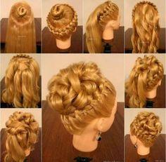 Elaborate braid/curly bun