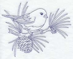Slate Colored Junco on Pine Bough Bluework ~ 1 of 9.  This set would be beautiful as alternate blocks for a bed quilt.