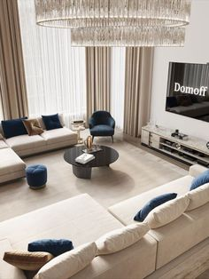 An amazing and mesmerizing design by Domoff Interirors! #designinspiration #designideas #interiordesign #interiorinspirations #designgoals #livingroom #sofa #centertable #stool #sideboard #chandelier Modern Classic Bedroom, Center Table, Sideboard, Floor Chair, Stool, Chandelier, Design Inspiration, Couch, Interiors