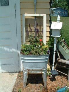 old wash tub planter