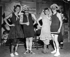 """Party goers at a 1940s Halloween bash dressed up in """"old timey"""" (turn of the century) swimsuits. #costumes #1940s #Halloween #party"""