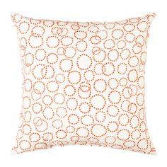 TRÄDASTER Cushion, white, orange white/orange 16x16