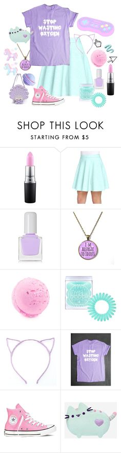 """Stop wasting oxygen"" by citykitty1234 ❤ liked on Polyvore featuring MAC Cosmetics, Catherine Catherine Malandrino, tenoverten, Invisibobble, Converse and Pusheen"