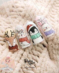 Christmas Gel Nails, Christmas Nail Designs, Nail Designs Spring, Sparkly Nails, Bling Nails, Wow Nails, Pretty Nails, Cartoon Nail Designs, Disney Acrylic Nails