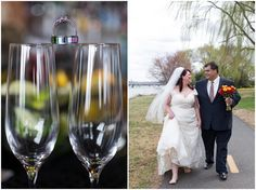 Champagne glasses and wedding rings. Arlington Virginia Wedding Photography. Laura's Focus Photography.