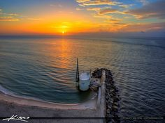 The sunrise this morning from the Palm Beach Inlet from Singer Island Florida over the pump house. HDR image created using Photomatix Pro and Aurora HDR software. Juno Beach Pier, Palm Beach, Pump House, Sunrises, Hdr, Places Ive Been, Aurora, Software, Places To Visit