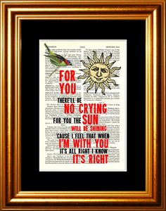 Songbird song lyric Print on upcycled Vintage by ForgottenPages, $8.00