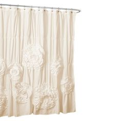 Lush Décor Serena Flower Texture Shower Curtain - Cream