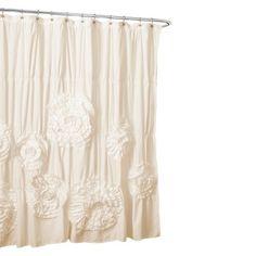 Lush Décor Serena Flower Texture Shower Curtain - Cream