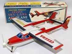 Vintage Tin Litho Friction JA8628 Cessna SKY LARK Airplane Plane #335 by Yonezawa (Y), Japan