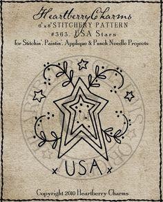 USA Stars Primitive Pattern / Stitchery / by HeartberryCharms, $2.99