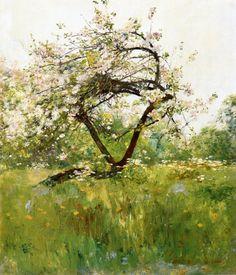 Peach Blossoms - Villiers-le-Bel - Frederick Childe Hassam.