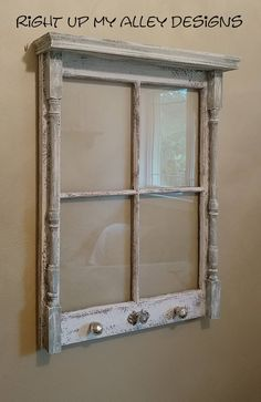 Old window with shelf,window ideas.small 4 pane window with shelf,distressed window,unique window ,window decor,upcycled window.repurposed by RightUpMyAlleyDesign on Etsy LOVE adding spindles and old knobs to windows making for a unique piece.