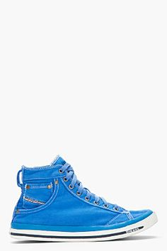 Diesel Bright Blue Twill Exposure I Sneakers for men | SSENSE