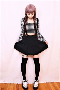 Black collar choker with bodycon crop top, suspender skirt, thigh high socks & creeper shoes by lovelyblasphemy