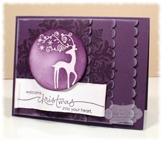 "Stamps: Dasher, Heard From the Heart, Medallion  Paper: Elegant Eggplant, Whisper White  Ink: Elegant Eggplant, VersaMark, Whisper White  Accessories: 2 1/2"" Circle Punch, Scallop Edge Punch. Clear Embossing Powder, Sponges, Dimensionals®"