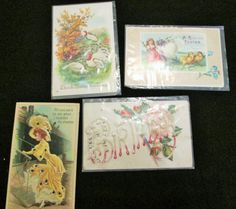 Post Cards Antique Holiday Lot Of 4 Holiday Embossed Sparkle Thanksgiving   #ThanksgivingEaster