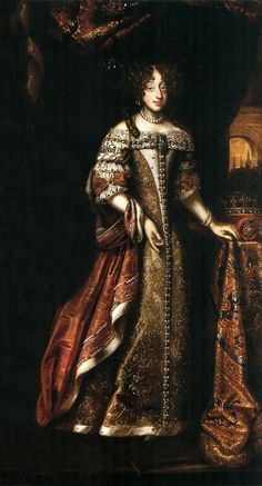 Portrait of Eleanor Maria Josepha of Austria by Anonymous, 1670s, Odescalchi Castle in Bracciano. The features are more close to those of Queen of Poland than to Christina, Queen of Sweden. Similar coat was depicted in Eleanor Maria Josepha's portrait by Charles Brendel from 1684. Identification by Marcin Latka (Artinpl). #17thcentury #artinpl #1670sfashion #crown #orb #baroque #painting Kristina Of Sweden, Queen Of Sweden, 17th Century Fashion, Classic Paintings, Historical Costume, Female Portrait, Shades Of Red, Marie Antoinette, Portraits
