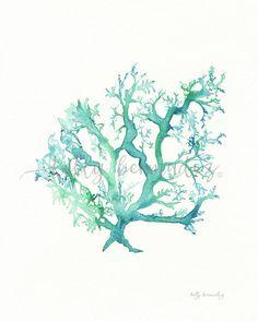N º 1 Mar Coral / acuarela imprimible / por kellybermudez en Etsy