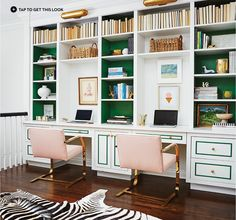 Home Offices — Double work stations with green and gold accents.