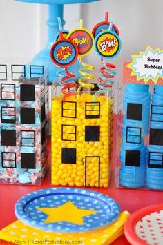 Cute superman straws! Modern Superhero themed birthday party by Kara Allen | Kara's Party Ideas | KarasPartyIdeas.com-15