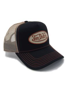 VON DUTCH  PATCH NEW Real Dark Brown Leather With Black Letters