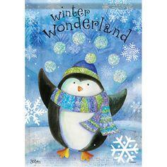Winter Wonderland Penguin Glitter Garden Flag