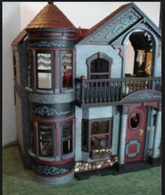 OOAK custom painting the 1995 Barbie Dream House Dreamhouse Victorian Mansion with Elevator - A Special World for YOU and Barbie - Dollhouse Doll House Mattel Haunted Dollhouse, Haunted Dolls, Diy Dollhouse, Dollhouse Miniatures, Dollhouse Design, Halloween Miniatures, Wooden Barbie House, Barbie Doll House, Barbie Dream House