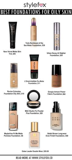 Infographic: The Best Foundations For Oily Skin #acnemakeuptutorial,