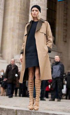 Elena Perminova in Versace boots at Paris Fashion Week, February 2013
