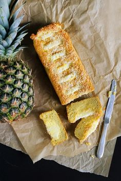 Coconut cake with pineapple. Moist delicate very coconut cake made from coconut flour with large pieces of sweet juicy pineapple. (In Polish) Pineapple Cake, Dessert Recipes, Desserts, Coconut Flour, How To Make Cake, Food And Drink, Sweets, Healthy Recipes, Healthy Food