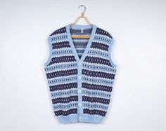 Light Blue Mens Vest Knitted Winter Patterned Sweater Vest Clothing Warm Pullover Christmas Vest Striped