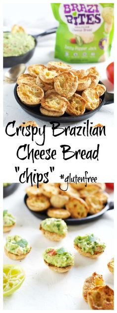 """CRISPY BRAZI BITES BRAZILIAN CHEESE BREAD """"CHIPS"""" WITH GUACAMOLE Appetizers For Party, Appetizer Recipes, Snack Recipes, Snacks, Real Food Recipes, Great Recipes, Yummy Food, Delicious Recipes, Sin Gluten"""