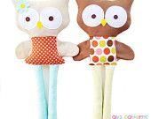 Owl Sewing Pattern - Boy Owl Girl Owl Doll Sewing Pattern - PDF