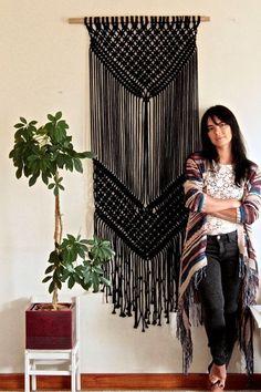 Diy Crafts Ideas : Black macrame wall hanging large macrame BLACK DESERT macrame tapestry More