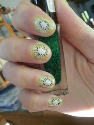 This adorable Kiwi Nail design is perfect to rock on short nails during Spring  Summer.