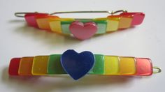 Pair of 1980s Rainbow Barrettes